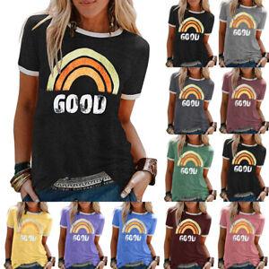 UK-Womens-Summer-Shirt-Pullover-Rainbow-Ladies-Blouse-Casual-Sweatshirt-Tee-Tops