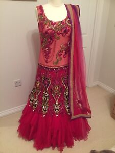 Image Is Loading Pink Purple One Piece Indian Dress Wedding Gown