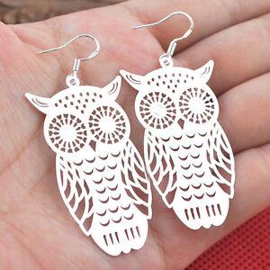 Women-039-s-Unique-925-Sterling-Silver-Hollow-Owl-Dangle-Earrings-Jewelry