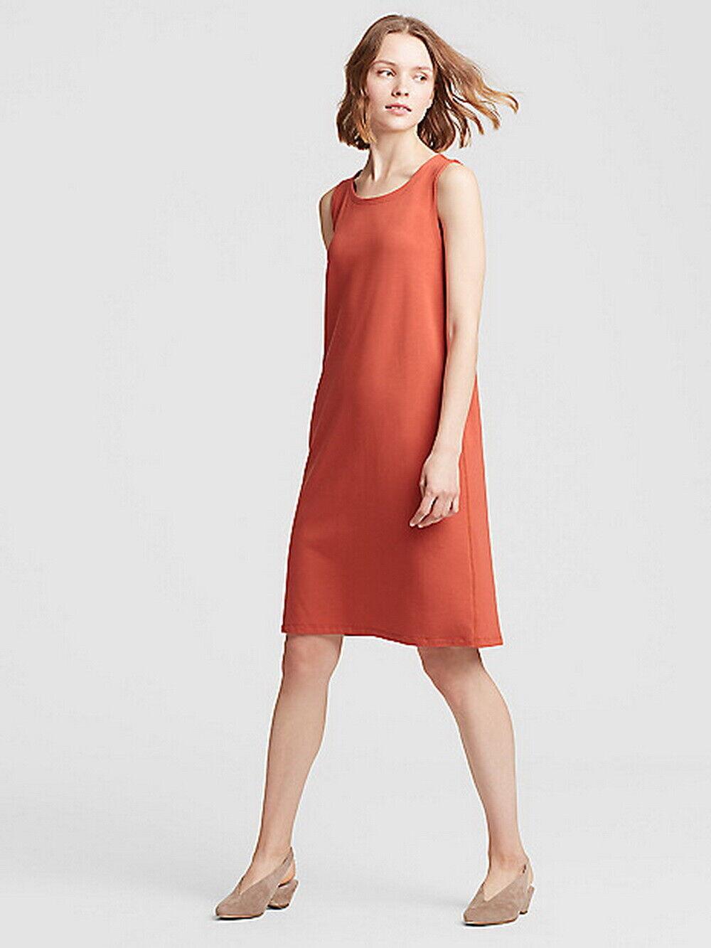 Eileen Fisher Orange Pekoe Organic Cotton Stretch Jersey Dress Large Orig