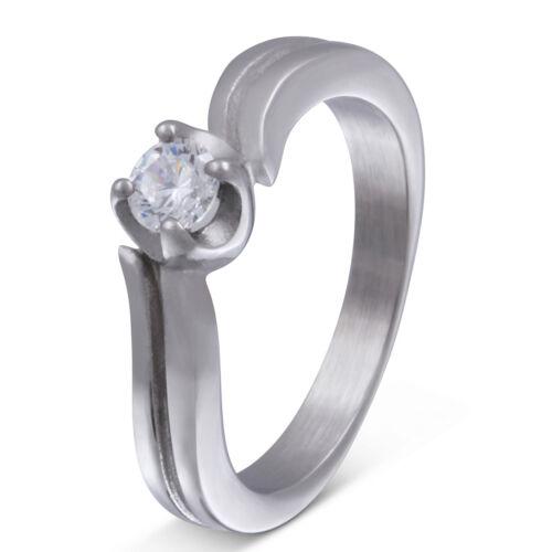 grabado láser-la203d Señora anillo de bodas de bodas anillo de acero inoxidable circonita incl