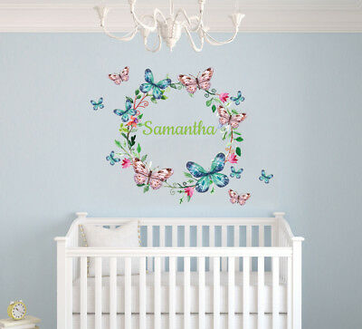 Butterfly Name Baby Girl Wall Decal Nursery Decor Vinyl Sticker Girls Bedroom Wall Decal Name Vinyl Lettering Script Name Baby Shower Gift