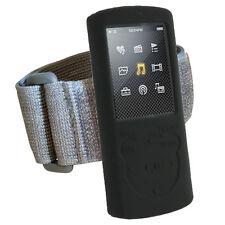 Black Silicone Skin Case Cover Armband for Sony Walkman NWZ-E463 NWZ-E464 Series