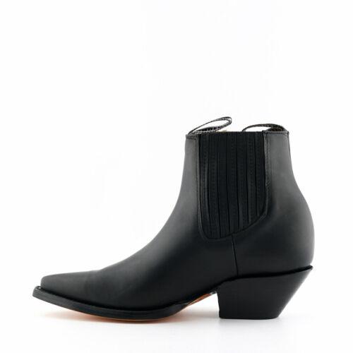 Mens Grinders Black Mustang Leather Boots Slip On Cowboy Western Chelsea Ankle