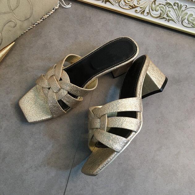 ALS08 Tribute 2018 Hot Spring Summer Schuhes Woman Leder Tribute ALS08 Slippers Open Toe Flats 04fa43