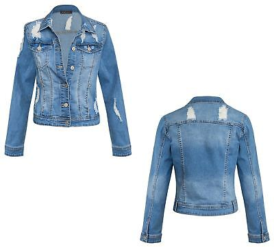 Womens Lace Long Sleeve Distress Ripped Short Vintage Blue Denim Jacket