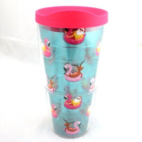 Pink Flamingo Pool Floats Tubes Santa /& Rudolph Tervis Tumbler 24Oz Lid NEW Xmas