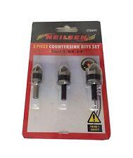 """3 Piezas avellanado desbastado Drill Bit Set - 1/2"""" 5/8"""" 3/4"""" Para Acero & Aluminio"""