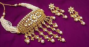 Bridal Wedding Jewelry Gold Plated Pearl Kundan Choker Necklace Set Earrings