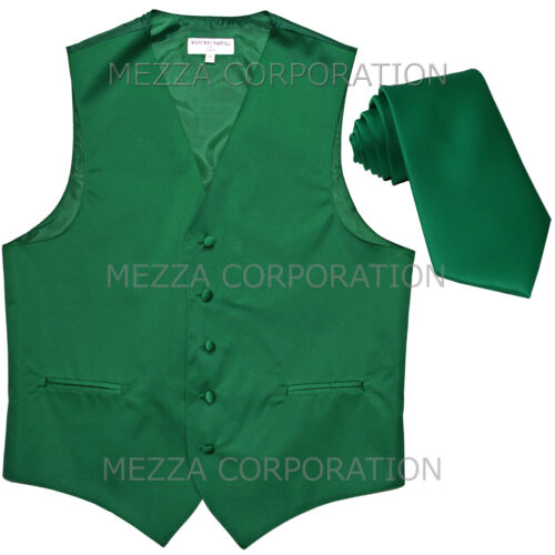 New Men/'s Vesuvio Napoli Tuxedo Vest Waistcoat Necktie prom party Emerald Green