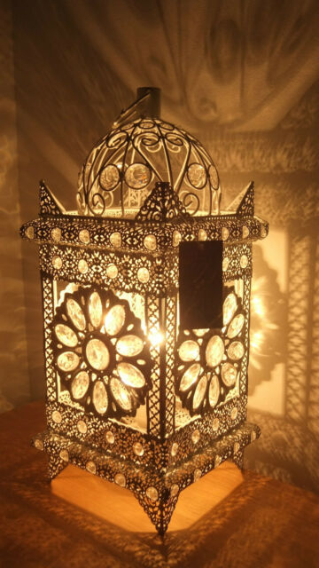 Table Lamp White Metal Stunning Moroccan Style Jeweled Cutwork Flower Brand New
