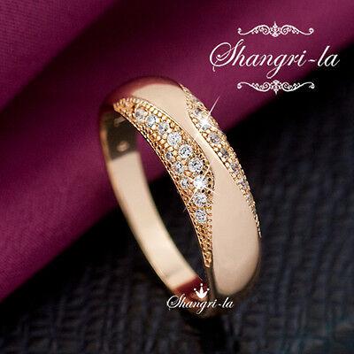 0624 18K 18CT ROSE GOLD GF Womens Wedding BAND ENGAGEMENT RING SWAROVSKI CRYSTAL