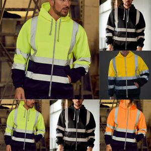 Men-Waterproof-Hoodie-Zip-Up-Sweatshirt-Visibility-Work-Coat-Jacket-Tops-CA