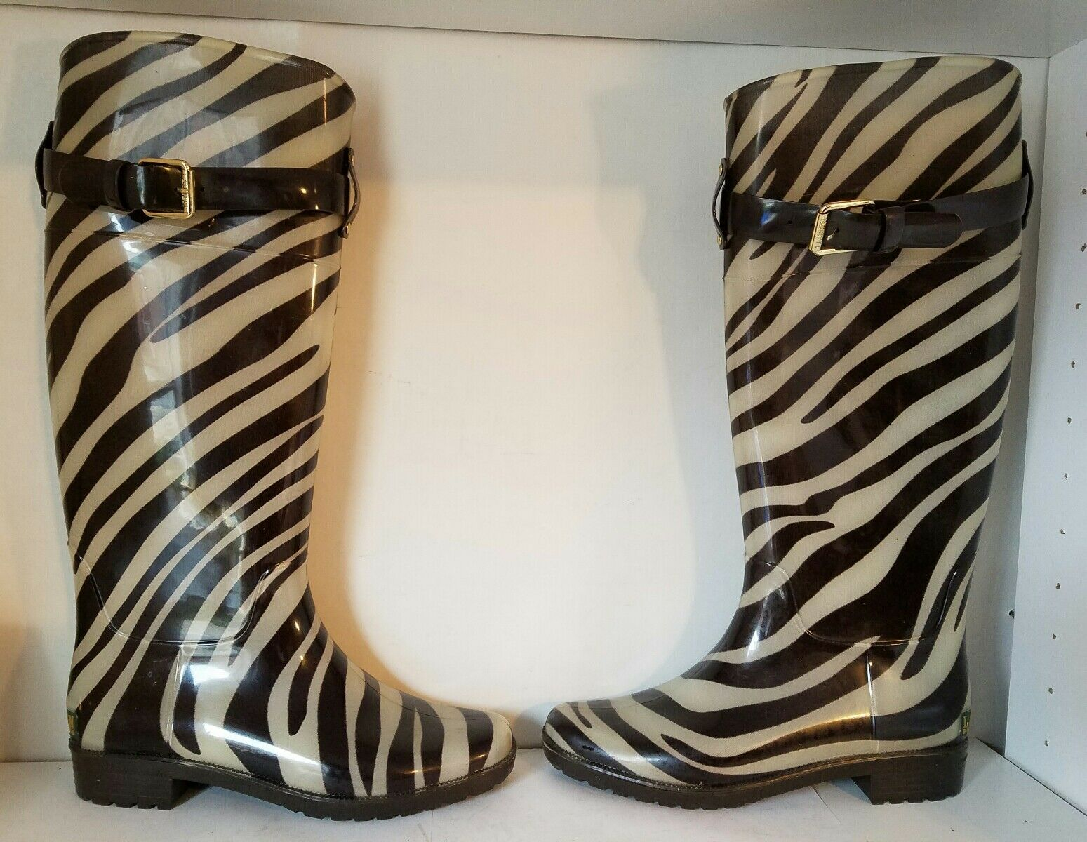 RALPH LAUREN WOMEN'S Knee High Rubber RAIN BOOTSBROWN ZEBRA PRINTSz 6