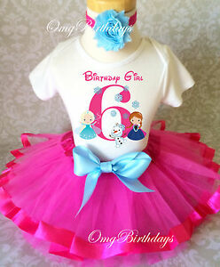 Anna-Elsa-Frozen-Princess-Olaf-Pink-Blue-6th-Girl-Birthday-Tutu-Shirt-Outfit-Set