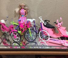 Lot Of 4 Vintage  Barbie Size Bikes & Helmet ~ Moped, Scooter EUC