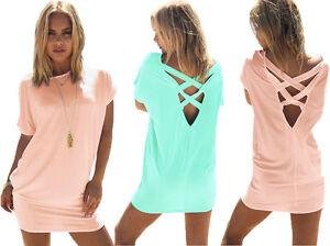 Mikos Damen Sommer Kleid Tunika Longshirt Kurz Armel Trend Sexy S M L Xl 657 Ebay