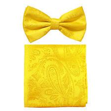 New formal men's pre tied Bow tie & hankie set paisley pattern yellow wedding