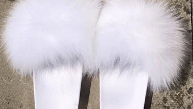 Womens Handmade Big Fluffy White Fur Sliders Fur WEDDING White Fluffy 3,4,5,6ukSALE f289aa