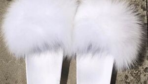 Womens Handmade Big Fluffy Fur Sliders Fur WEDDING White 34567 SALE