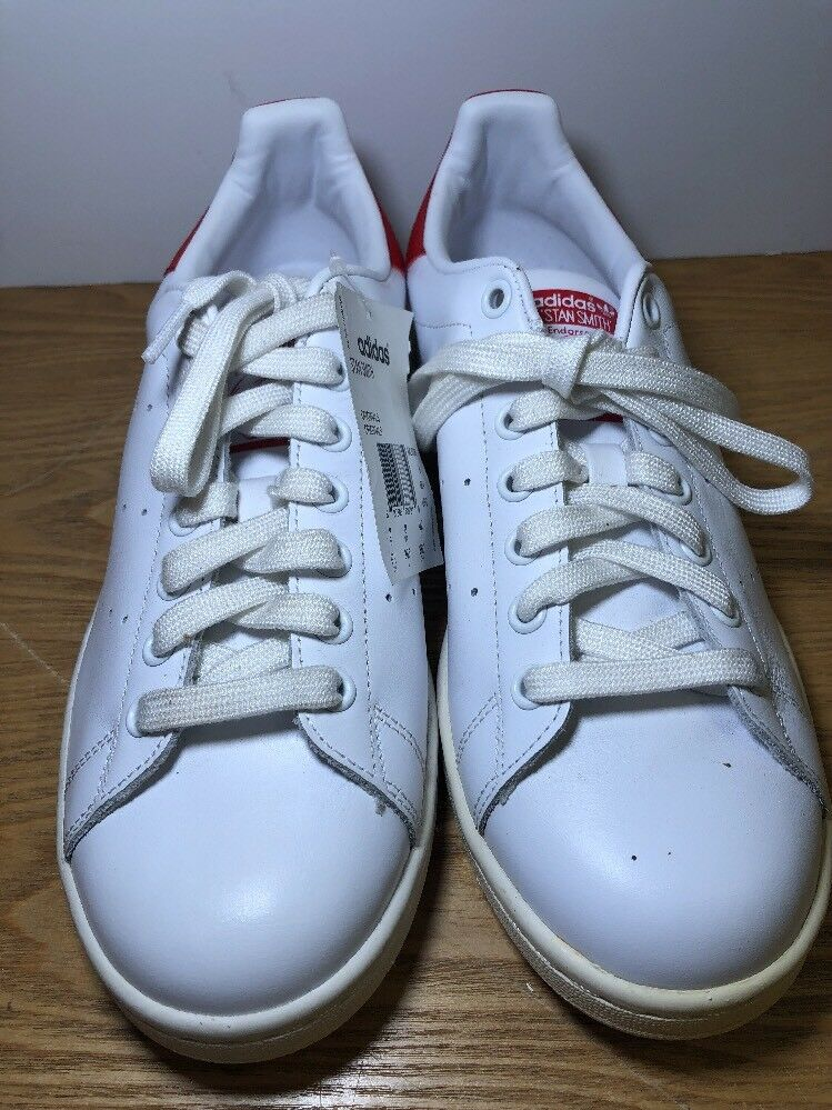 Adidas Stan Smith White White Smith And Collegiated Red Mens Size 8.5 M20326 New With Tags 1bdf33
