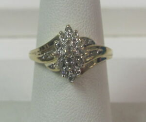 14K-Yellow-Gold-25-TCW-Diamond-Cluster-Ring-Size-7-W1104