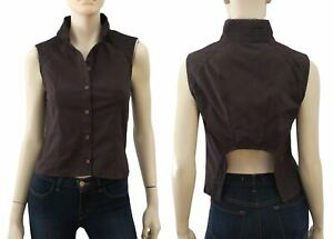 ETOILE-ISABEL-MARANT-Dark-Brown-Sleeveless-Cotton-Blouse-Top-S-NEW
