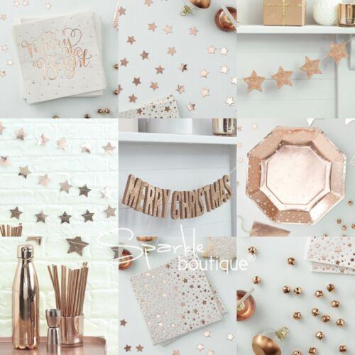 Noël Fête-Gamme en magasin Or Rose Métallique étoile Noël Serviettes en papier 33 cm