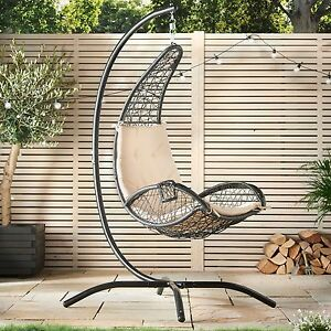 VonHaus Hanging Egg Chair Swing Rattan Wicker Weave Cushion Garden Patio Stan