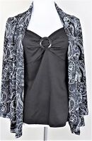 Notations Size S Black & White Paisley Faux 2 Pc Top
