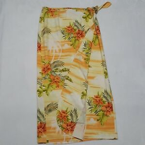 93197f5eae Details about NEW Tommy Bahama Sz L Silk Sarong $132 Floral Coverup  Hawaiian Sunset Wrap Skirt