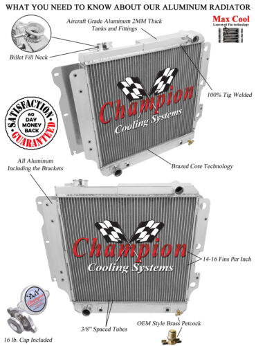 Champion Racing 2 Row Aluminum Radiator For 1987-06 Jeep Wrangler 4//6Cyl