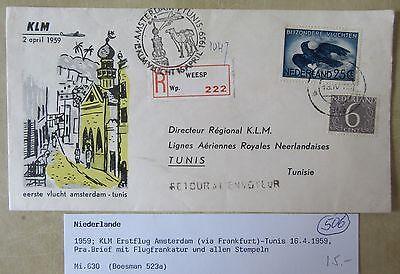 Tunis Flug-frankatur R-zettel Einschreiben Weesp Briefmarken Flugpost 1959 Klm Erstflug Amsterdam
