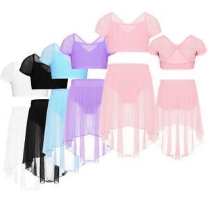 Girls-Kids-Tutu-Ballet-Leotard-Dance-Dress-Ballerina-Top-Skirt-Dancewear-Costume