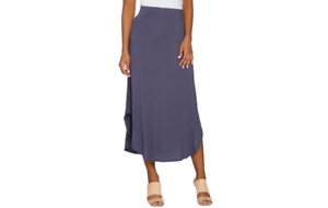 LOGO Layers by Lori goldstein Knit Skirt with Curved Hem Purple M A276760 J