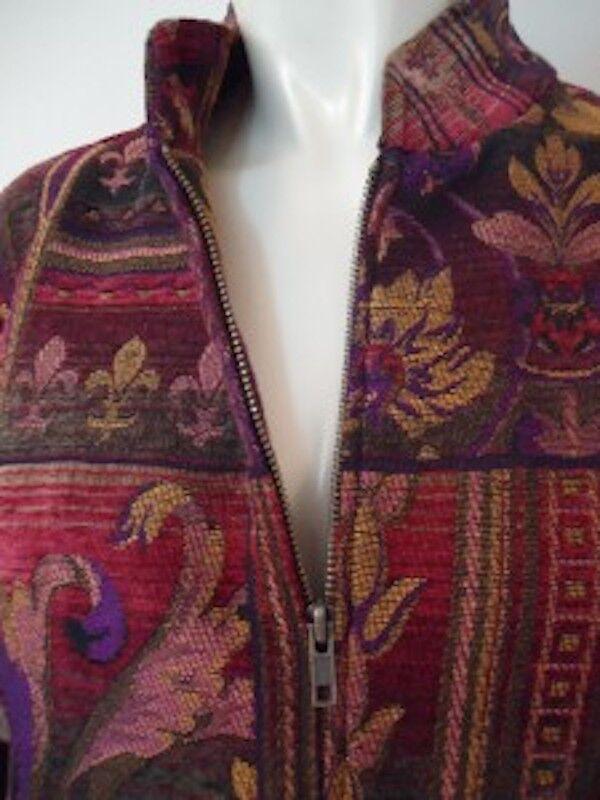 Coldwater Creek Tapestry Zip Front Blazer M M M Unlined Mandarin Collar Earth Tones 3c1005