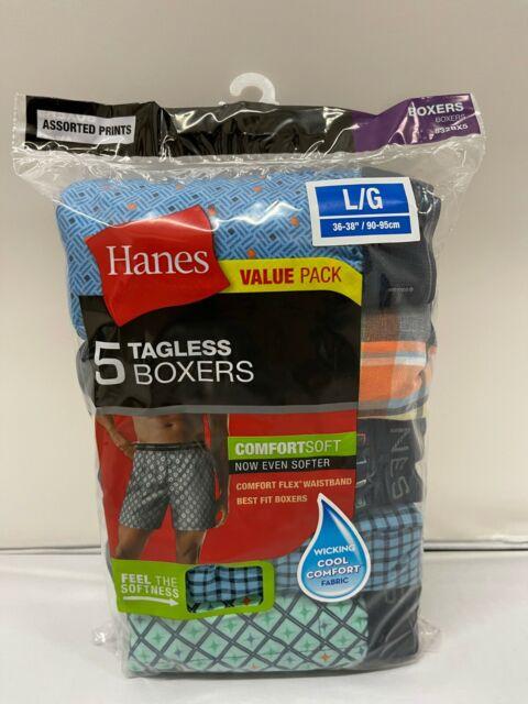 5-PACK HANES TAGLESS COMFORTSOFT FLEX BOXERS UNDERWEAR - VARIETY - SIZE LARGE