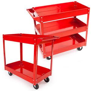 Carro de Herramientas 2 / 3 niveles Ruedas Taller Bricolaje Nuevo Almacenar Rojo
