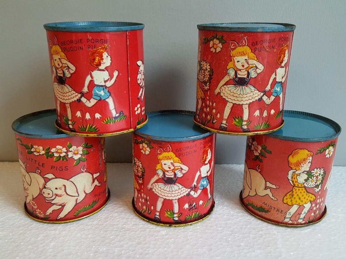5 Vintage Nursery Rhyme Sand Toys Cups Tin Litho. 3 Pigs, Georgie, Mistress Mary