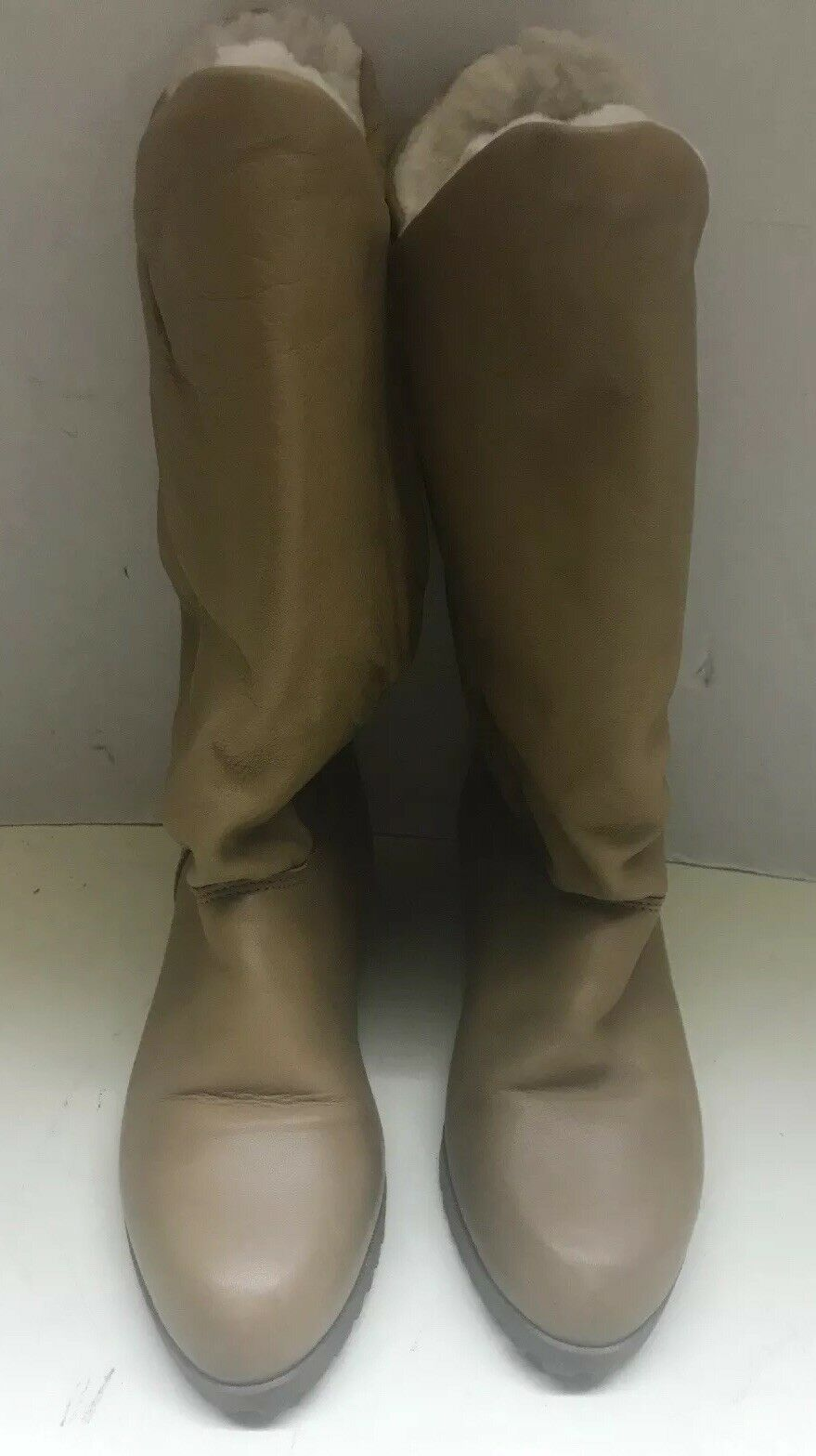 Bastien Bredhers HUSKY 7M Brown Leather Below the Knee Snow Boots Plush Lining