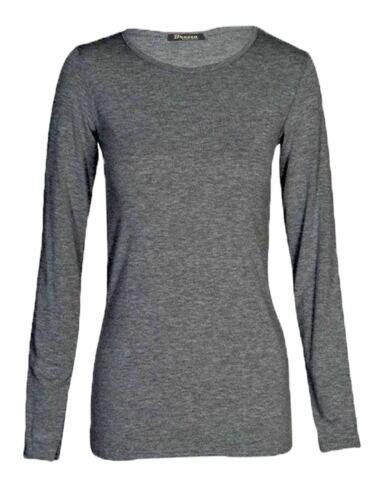 Damen einfach langärmlig Einfarbig Rundhals Damen Stretch Übergröße Top T-Shirt