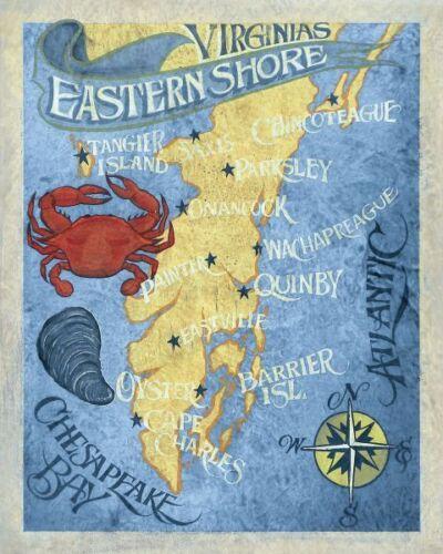 ART PRINT Virginia's Eastern Shore Beach Map Zeke's Antique Signs 19x13 Poster