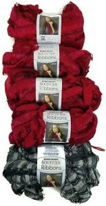 Lot-of-Five-5-Red-Heart-Boutique-Ribbons-4-Sangria-1-City-Super-Bulky-Yarn