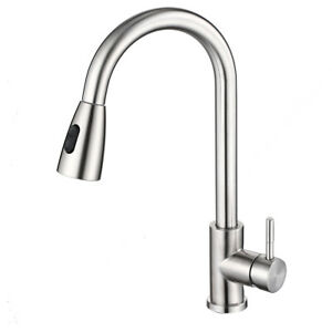 Single Handle Brushed Nickel Pull Out Kitchen Faucet Pull Down Sprayer Sink Taps Ebay