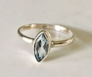 Sterling Silver Blue Topaz Ring Gemstone Marquise Stack Stackable Sz 6 7 8 9 9.5