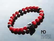 Men Red Coral/Onyx Skull Bracelet with Swarovski Crystal 7'' Elasticated Chakra