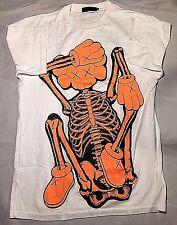 Original Fake Kaws Tee in White Orange SKULL Companion Bape Companion BBC UNIQ