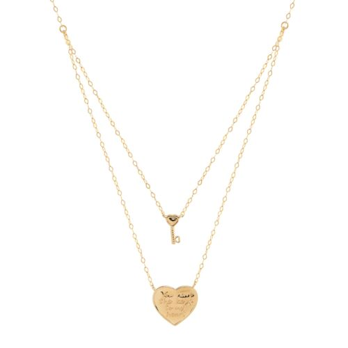 """Eternity Gold /'Key to My Heart/' Layer Necklace in 14K Gold 18/"""""""