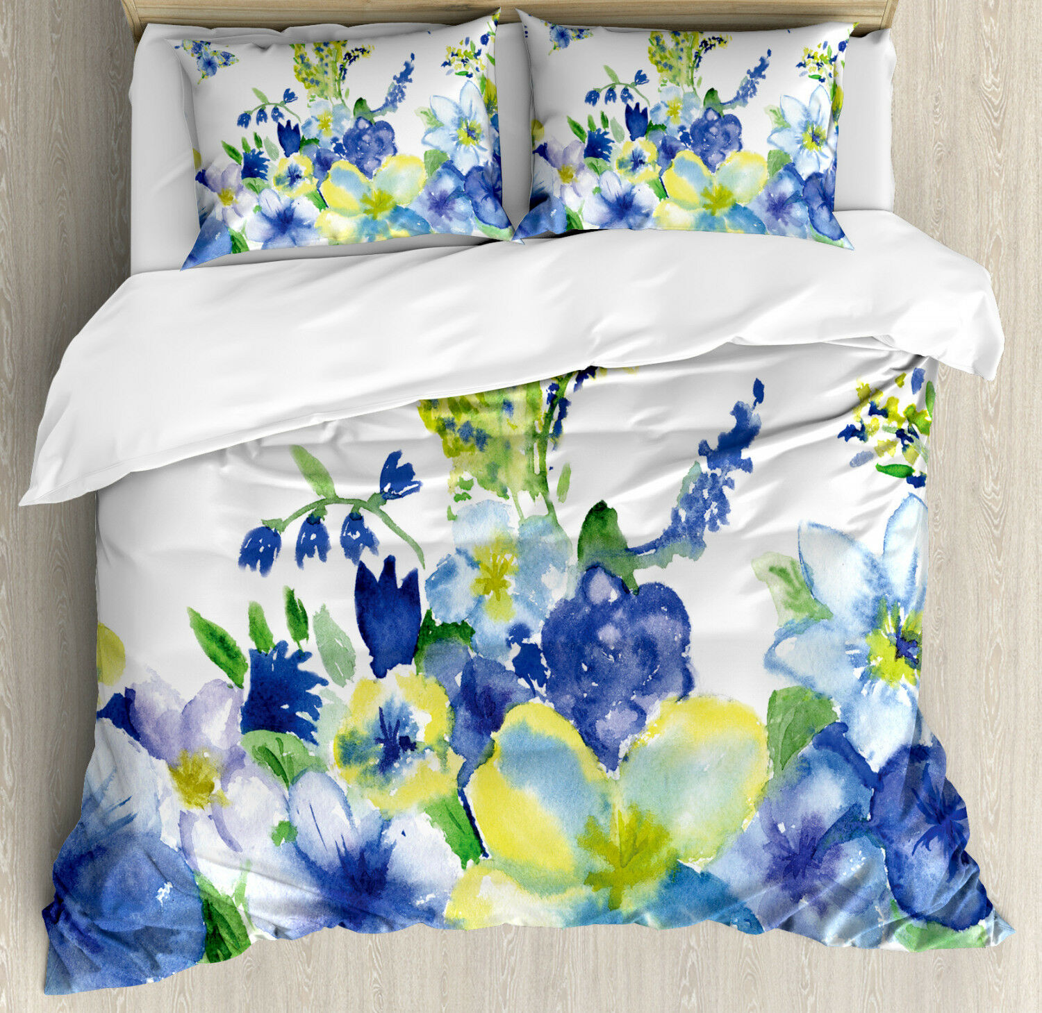 giallo and blu Duvet Cover Set with Pillow Shams Spring Blooms Print