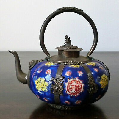 16cm Alte Tee-kanne China Porzellan Metall Dekoration Handmade Selten Blau Buy One Give One